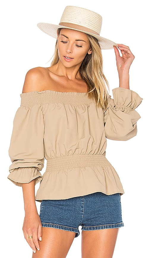 Tularosa x REVOLVE Katie Blouse in Taupe