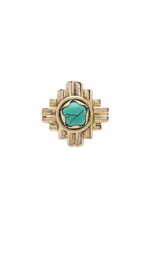 Turquoise + Tobacco Cactus Flower Ring in Metallic Silver