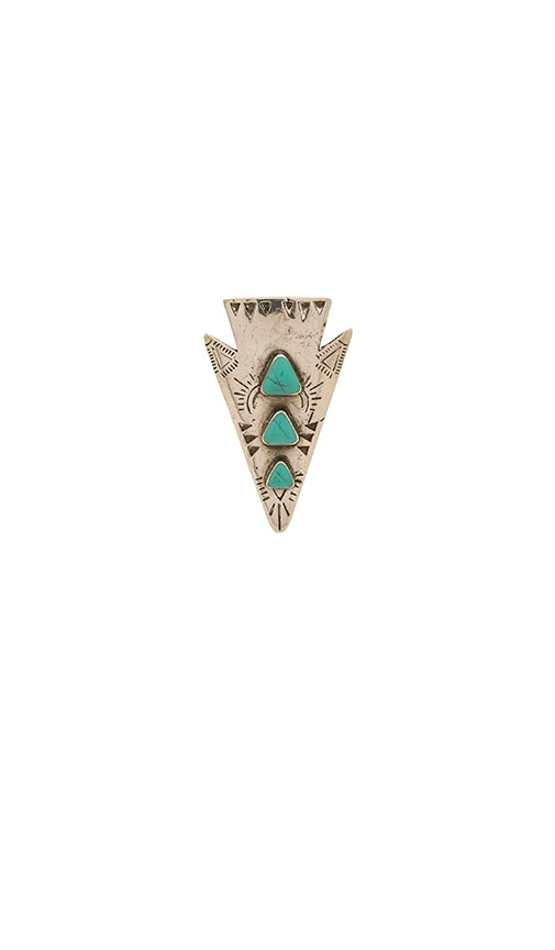 Turquoise + Tobacco Bandida Ring in Metallic Silver