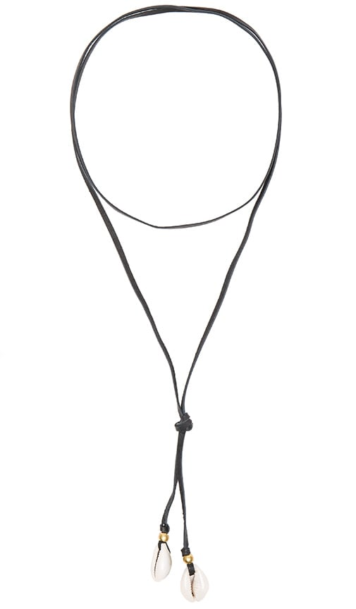 Turquoise + Tobacco Cove Lariat Necklace in Black