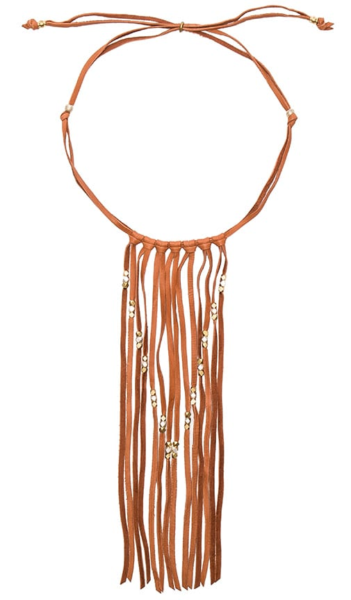 Turquoise + Tobacco Coyote Necklace in Cognac