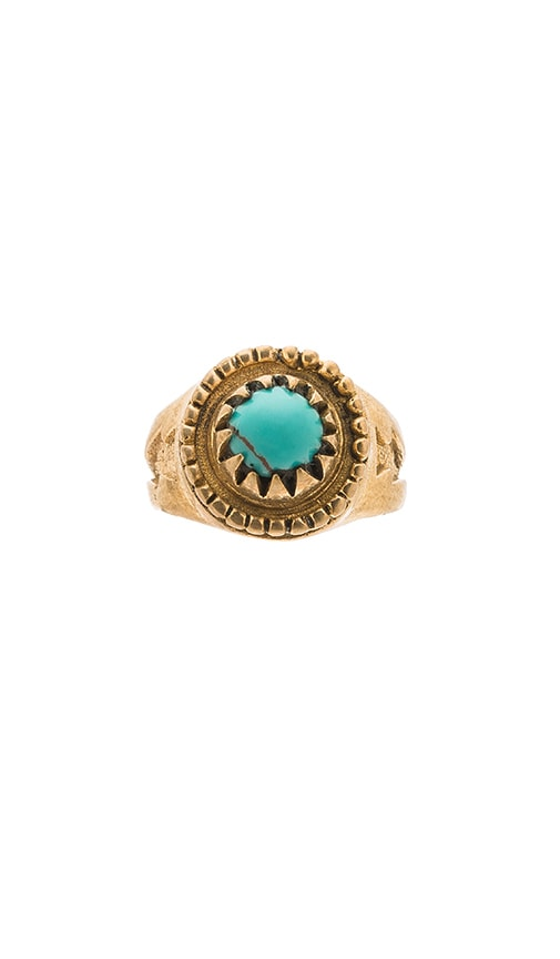 Turquoise + Tobacco Gypsum Ring in Metallic Gold