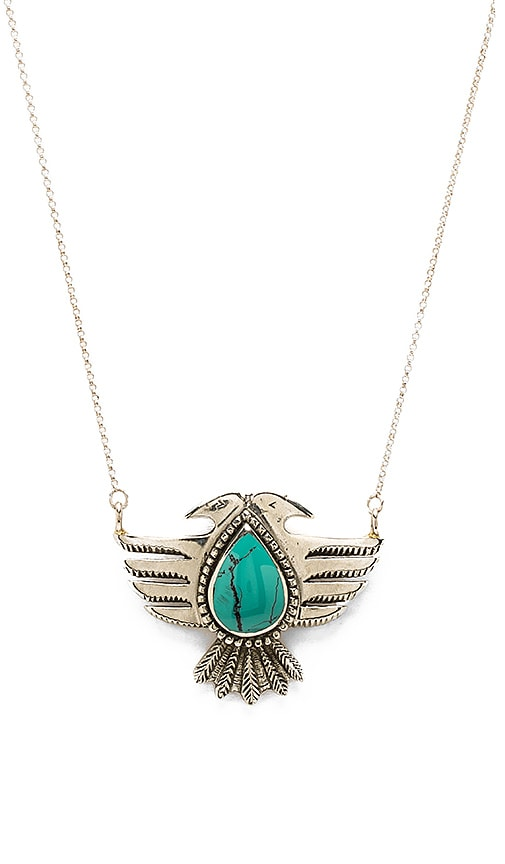 Turquoise + Tobacco Hiawatha Necklace in White Brass