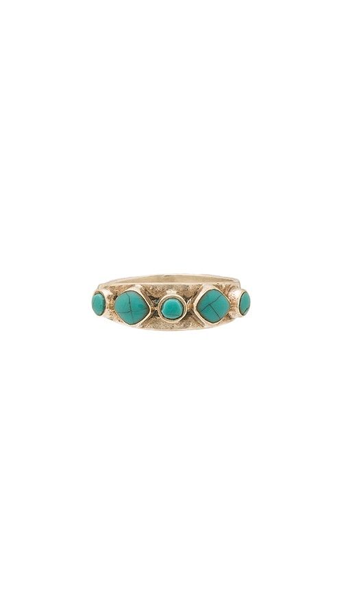 Turquoise + Tobacco Hideaway Ring in White Brass