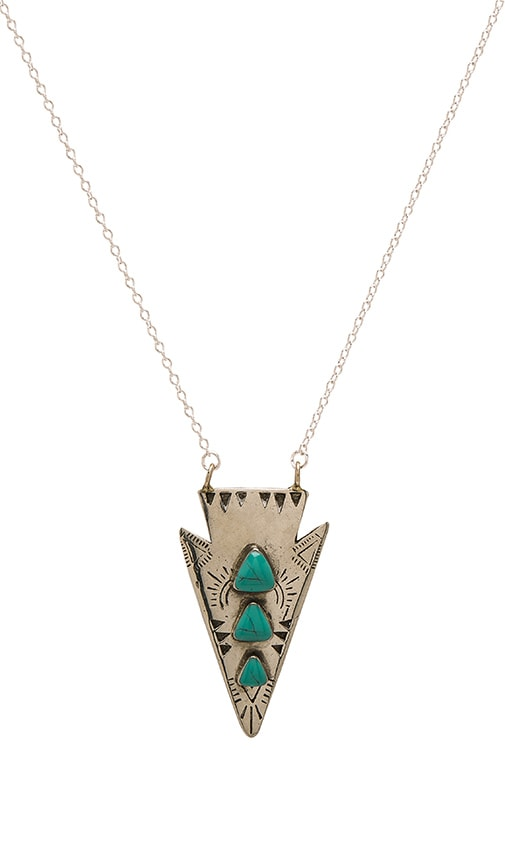 Turquoise + Tobacco Bandida Necklace in Metallic Silver