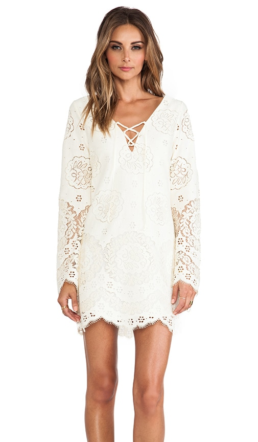 Lace Up Bell Sleeve Dress