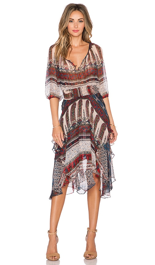 Twelfth Street By Cynthia Vincent Scarf High Waist Dress in Folklore Stripe
