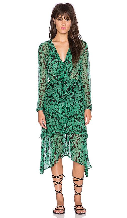 Twelfth Street By Cynthia Vincent Scarf Skirt Gypsy Dress in Vintage Green Leaf