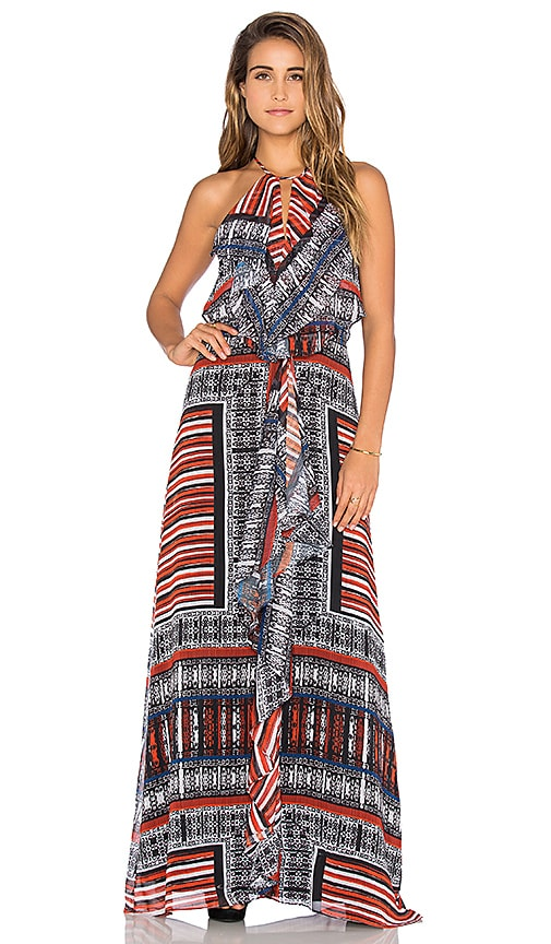 Twelfth Street By Cynthia Vincent Front Ruffle Maxi Dress in Patchwork Scarf Ginger Multi