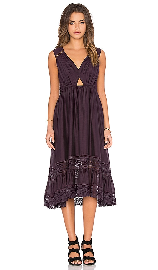 Twelfth Street By Cynthia Vincent Midi Peekaboo Dress in Purple