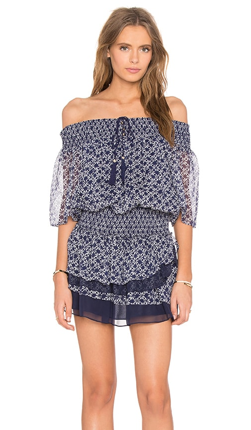 Twelfth Street By Cynthia Vincent Smoked Off Shoulder Dress in Ink Dot Print Color Indigo