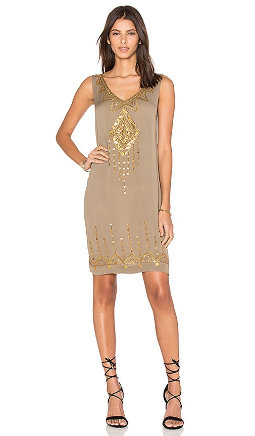 Twelfth Street By Cynthia Vincent Beaded Motif Tank Dress in Olive