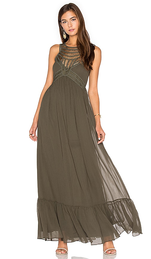 Twelfth Street By Cynthia Vincent Front Embellishment Maxi Dress in Army