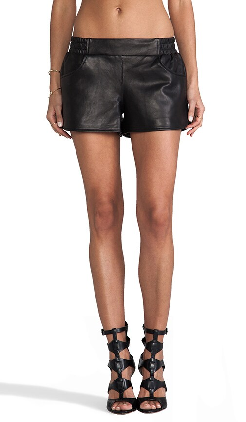 Open Air Leather Gym Short In Black