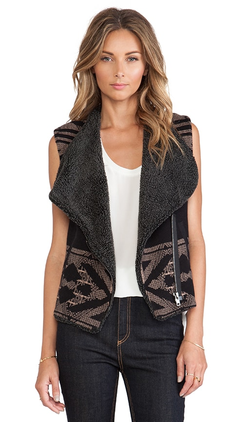 Faux Shearling Lined Sweater Vest