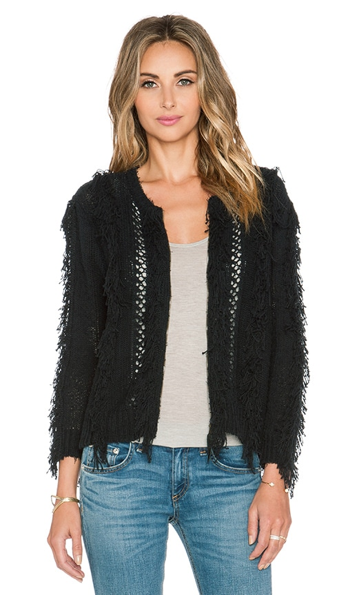 Twelfth Street By Cynthia Vincent Fringe Sweater in Black