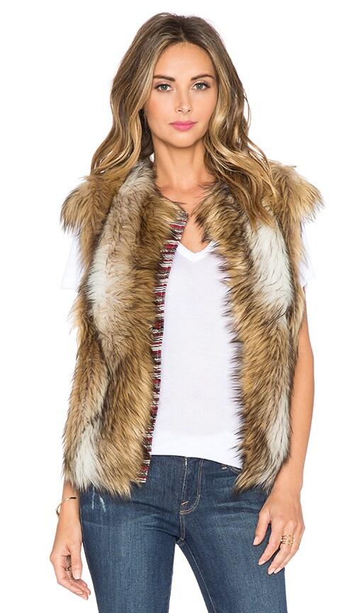 Twelfth Street By Cynthia Vincent Cap Sleeve Faux Fur Vest in Tan