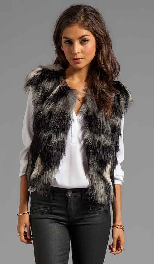 Breaux Leather Collar Fur Vest