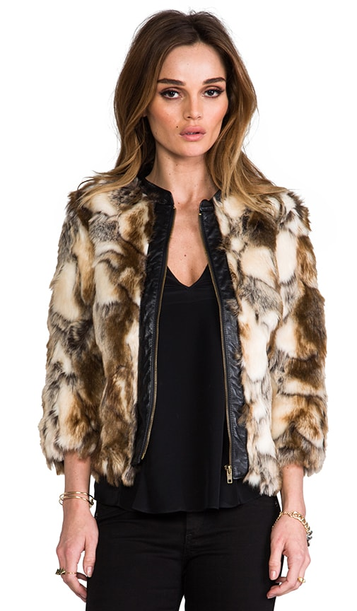 Talitha Leather Placket Faux Fur Chubby