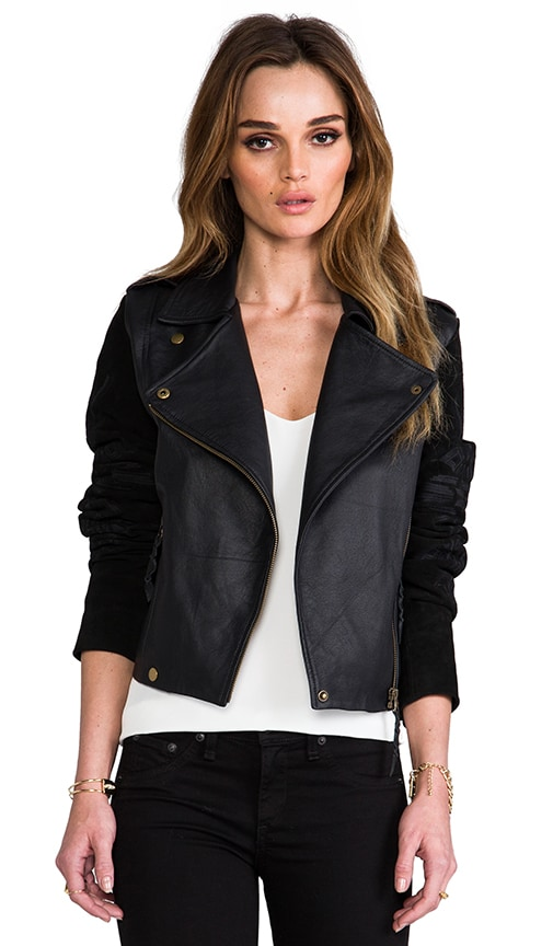 Talitha Embroidered Suede Sleeve Moto Jacket