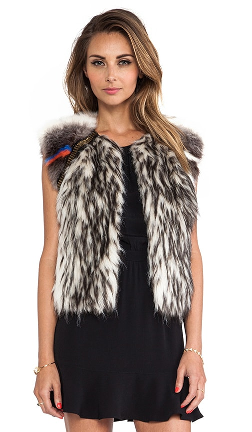 Raglan Embellished Faux Fur Vest