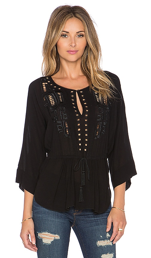 Twelfth Street By Cynthia Vincent Chikat Indian Embroidered Blouse in Black