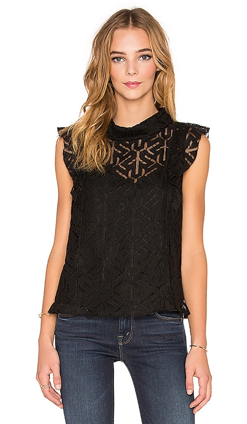 Twelfth Street By Cynthia Vincent Lace Turtle Neck Tank in Black