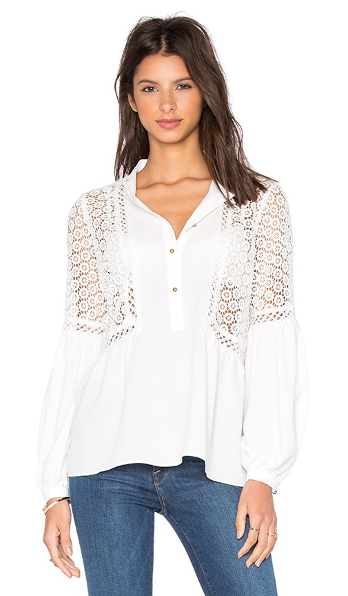 Twelfth Street By Cynthia Vincent Mixed Fabric Peasant Top in Eggshell