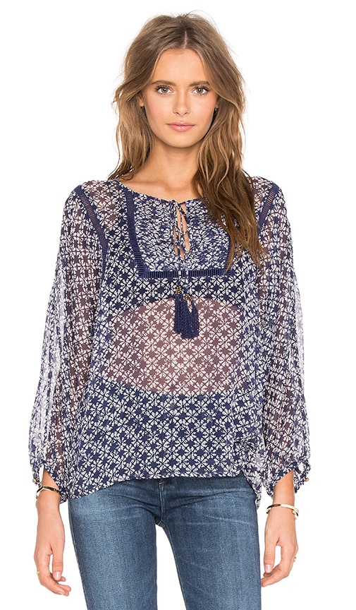 Twelfth Street By Cynthia Vincent Tie Front Peasant Top in Ink Dot Print Color Indigo