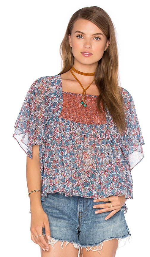 Twelfth Street By Cynthia Vincent Printed Scarf Sleeve Top in Blue