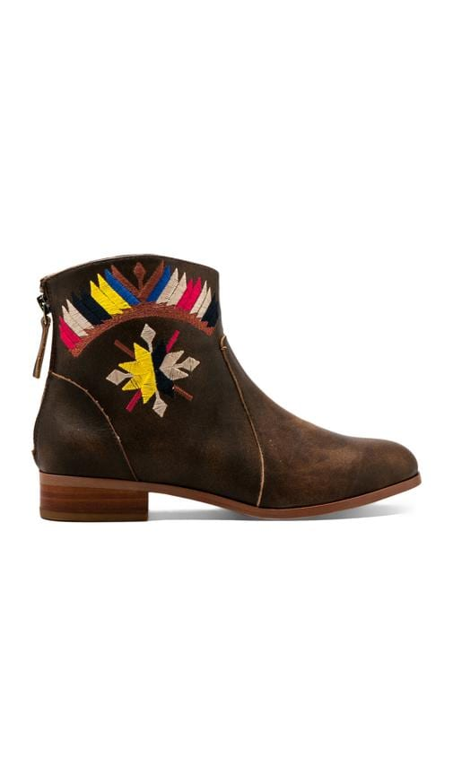 Goldie Embroidered Flat Ankle Boot