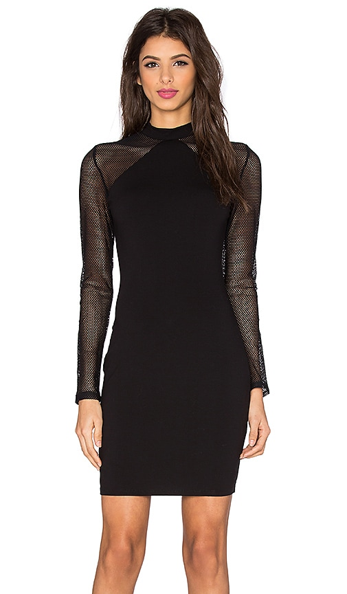 twenty Mesh Sleeve Mini Dress in Black