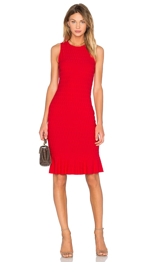 twenty Honeycomb Stretch Flare Dress in Red