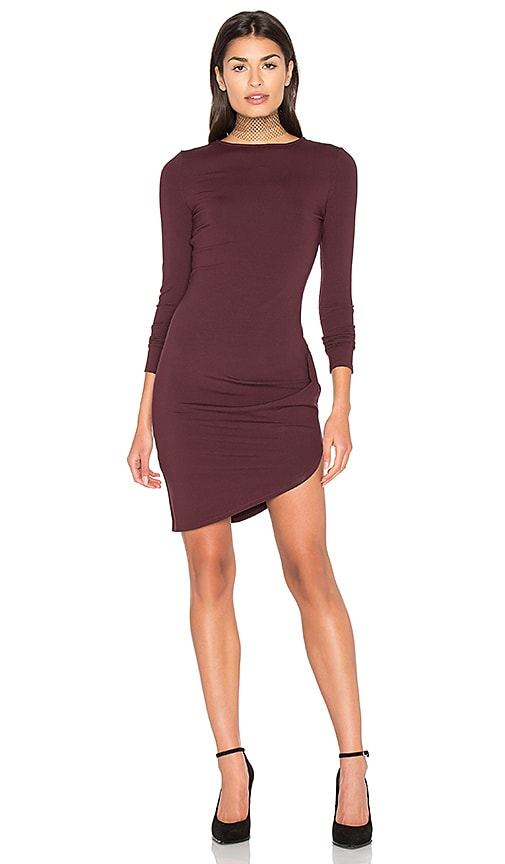 twenty Asymmetrical Cut Dress in Burgundy