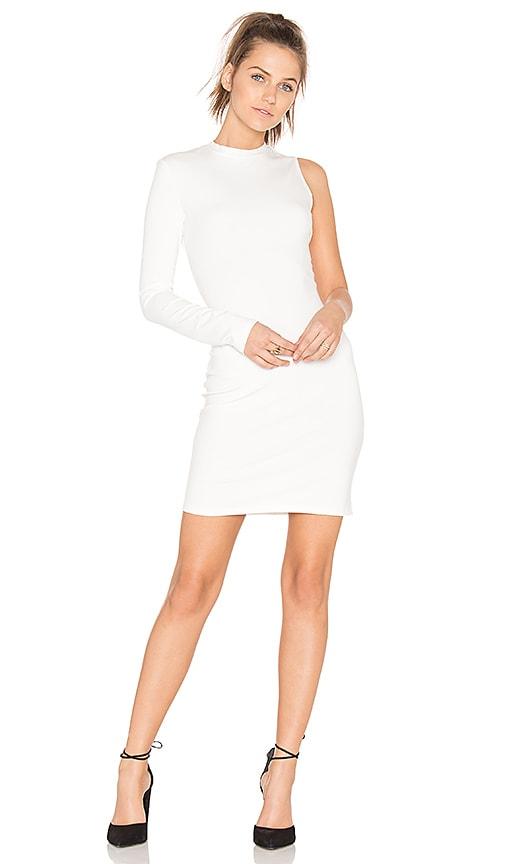 twenty Stretch One Sleeve Dress in White