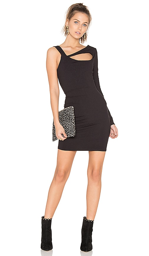 twenty Cut Out One Sleeve Dress in Black