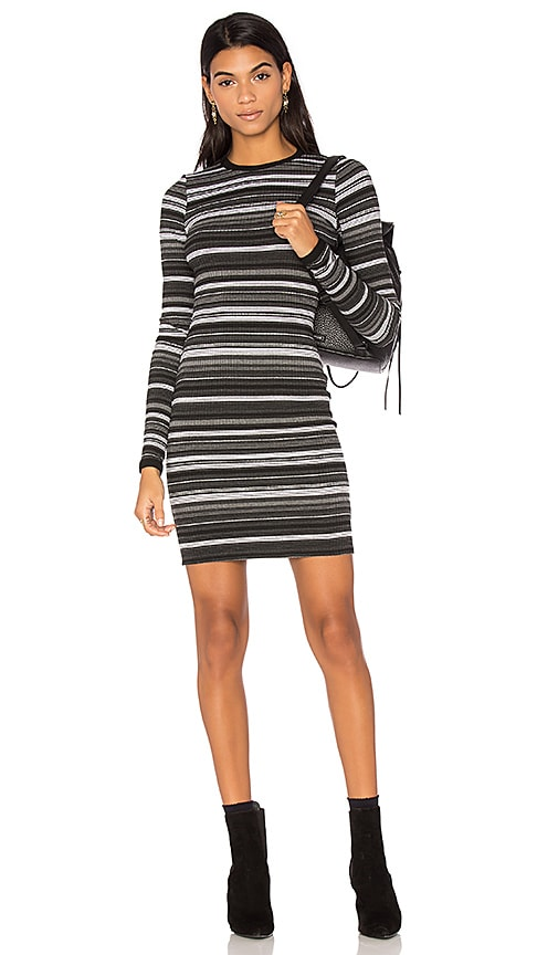 twenty Cascade Stripe Bodycon Dress in Gray