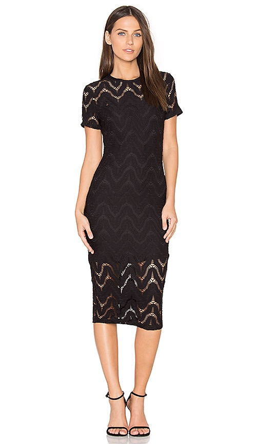 twenty Undulate Crochet Dress in Black