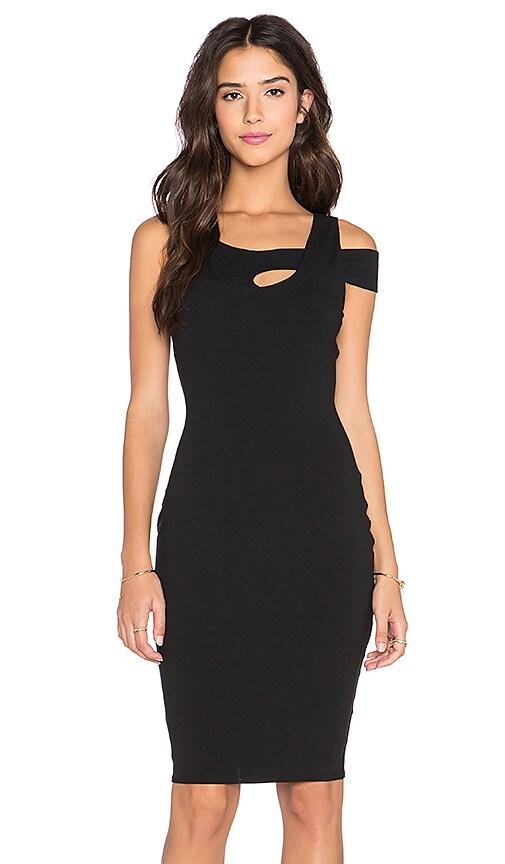 twenty Off the Shoulder Midi Dress in Black