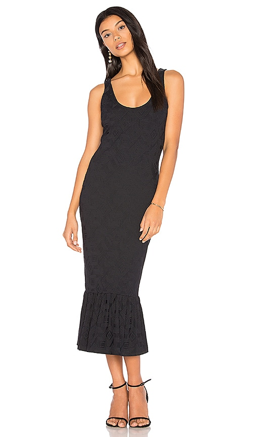twenty Embossed Jacquard Midi Dress in Black