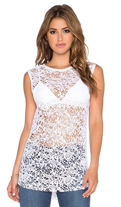 twenty Webbed Crochet Tank in White