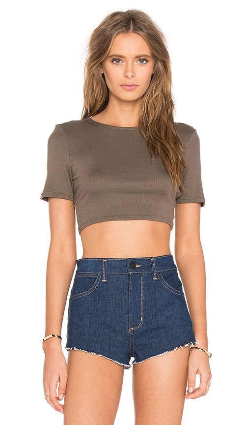 twenty Perfect Rib Crop Top in Green
