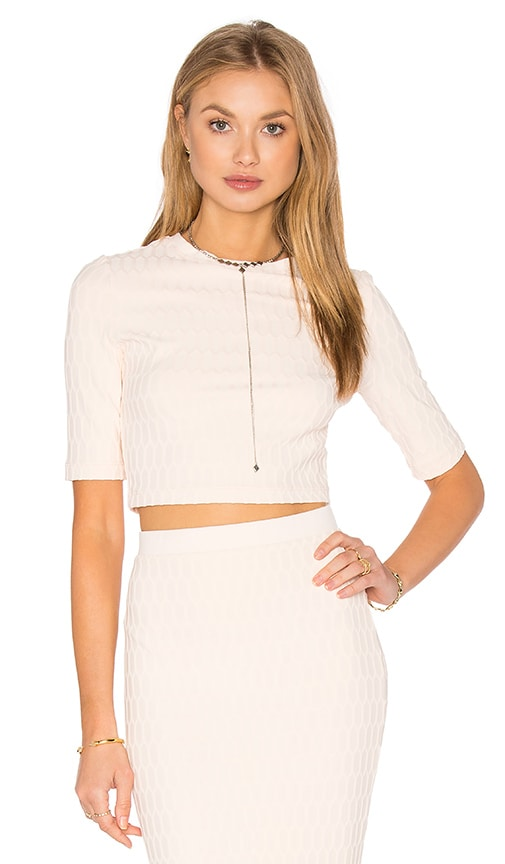 twenty Honeycomb Stretch Crop Top in Blush