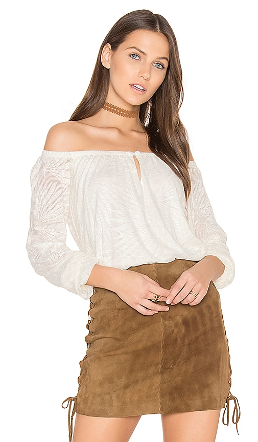 twenty Paradise Crochet Off the Shoulder Top in Ivory