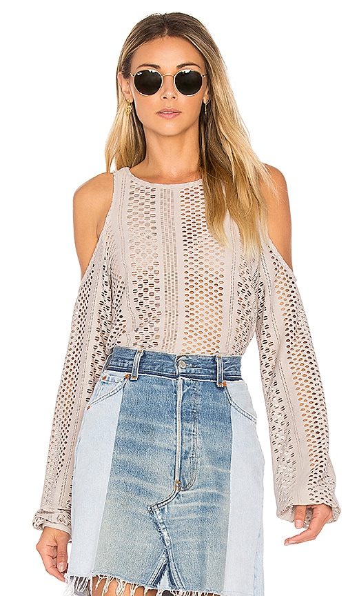 twenty Crafted Mesh Top in Taupe