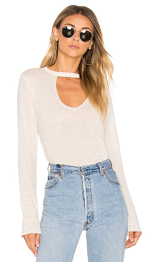 twenty Linen Long Sleeve Tee in White