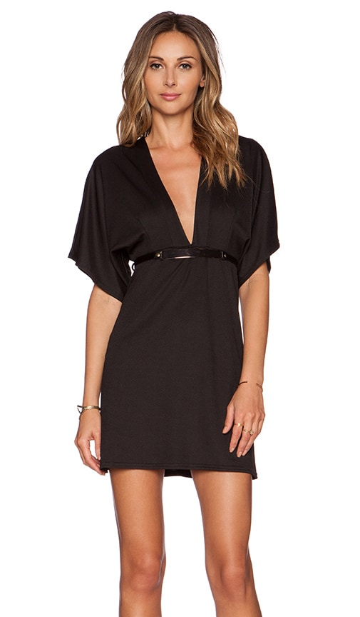 Twin Sister Belted Kimono Dress in Black
