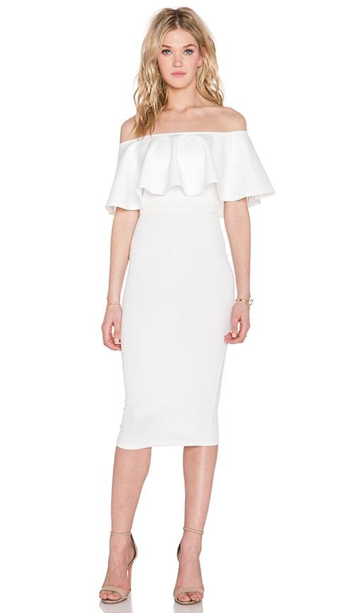 Twin Sister Big Frill Midi Dress in Cream
