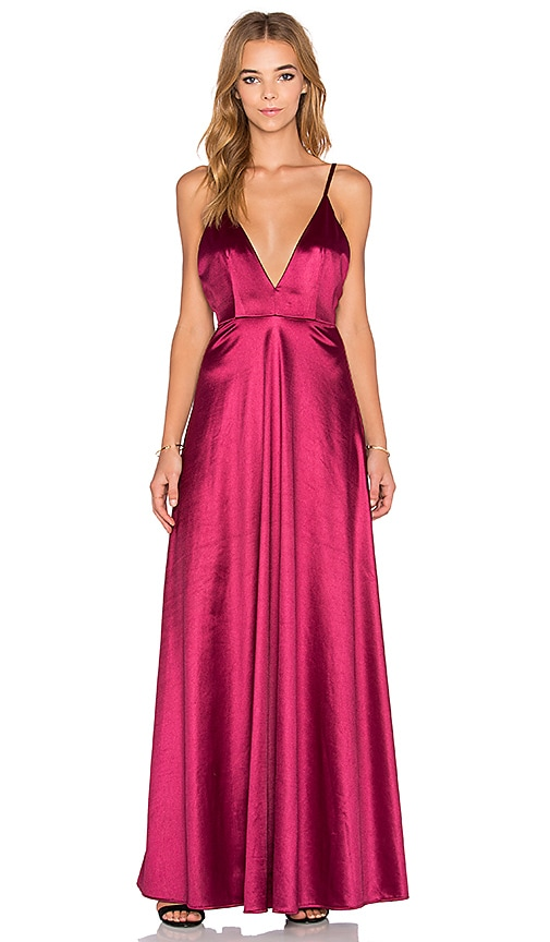 Twin Sister Plunge Front Maxi Dress in Red