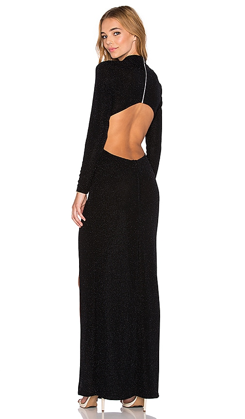 Twin Sister Cut Out Back Maxi Dress in Black